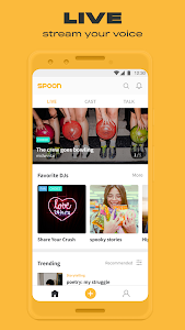 screenshot of SPOON RADIO: live stream, voice chat, live music. version 4.3.20 (201)