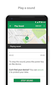 screenshot of Google Find My Device version 2.3.008