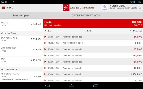 screenshot of Banque pour tablettes Android version 4.0