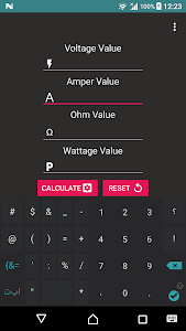 screenshot of Calculator Volt/Amp/Watt/Ohm version 1.6