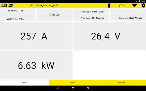 screenshot of ESAB UCMon version 1.5.4-002