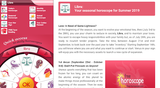 screenshot of Free Horoscope version 19
