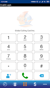 screenshot of Global Calling Card Inc. GCCI version 4.0.8