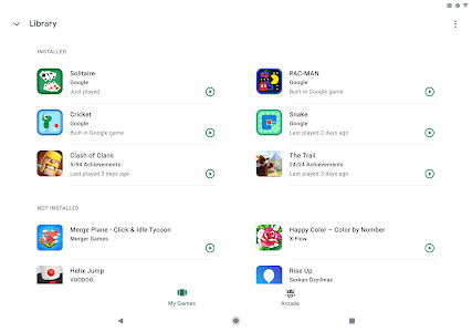 screenshot of Google Play Games version 2019.03.9078 (240253997.240253997-000300)