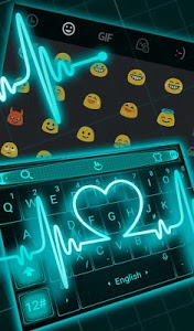 screenshot of Live Neon Blue Heart Keyboard Theme version 6.2.22.2019
