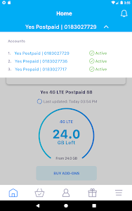 screenshot of MyYes4G version 2.0.197