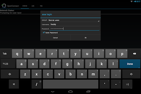 screenshot of OpenConnect version 1.11