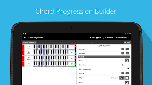 screenshot of Piano Chord, Scale, Progression Companion version 6.35.911