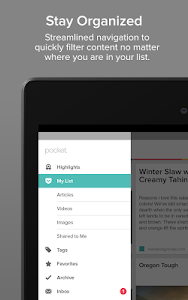 screenshot of Pocket version 5.8.5